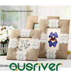 4/5R Modern Hessian Lace Photo Frames Stand Table Wall Home Decor Gift Present