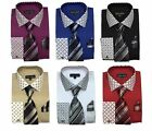 Men's Cotton Blend French Cuff Dress Shirt with Tie, Hanky and Cufflinks  MS630