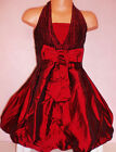GIRLS BURGUNDY BOW TRIM PUFFBALL BRIDESMAID SPECIAL OCCASION PROM PARTY DRESS