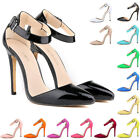 Womens Ladies High Heels Pumps Court Strappy Sandals Patent Shoes US Size 4-11