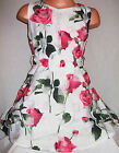 GIRLS 50s STYLE CREAMY WHITE ROSE PRINT FLARED SPECIAL OCCASION PARTY DRESS
