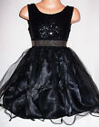 GIRLS BLACK GOTHIC SEQUIN SPARKLE TRIM TULLE SPECIAL OCCASION PARTY DRESS