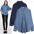 AnnaKastle New Womens Button Down Denim Cotton Shirt Boxy Fit size M