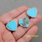 5Pcs Silver Plated Heart Blue Howlite Turquoise Pendant / Necklace NEW GS0838