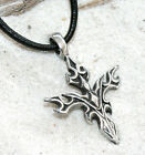 GOTHIC CROSS TRIBAL WICCA Pewter Pendant Leather Surfer