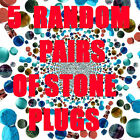 5 RANDOM PAIRS OF STONE ORGANIC EAR PLUGS-EAR GAUGES-CHOOSE SIZE-10 PIECES TOTAL