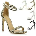 Womens Ladies Stiletto High Heel Ankle Strap Peep Toe Barely There Sandals Shoes