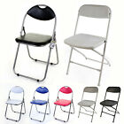 Folding Chair Black & Pink Faux Leather Padded Seat & Back Rest Computer Office