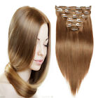 """Tengda #8 Clip In Extensions 100% Real Human Hair 15""""-30"""" Straight 70/80/120g"""