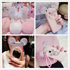 Cute Bling Rabbit Fur Soft Ball Ear Ring Crystal Diamond Case for iPhone Samsung