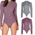 Ladies Polo Turtle Neck Ribbed Knitted Long Sleeve Bodysuit Leotard Stretch