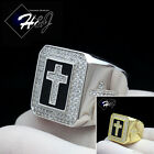 925 STERLING SILVER LAB DIAMOND GOLD/SILVER/BLACK ICED OUT BLING CROSS RING*SR58