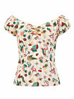 Collectif DOLORES Atomic FLAMINGO Fruity Retro Vintage Bluse SHIRT Rockabilly