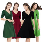 Womens Summer Long Sleeve Vintage Casual Dress Housewife V Neck Swing Dress