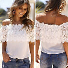 Sexy Womens Off Shoulder Lace Short Tops T-shirt Girl Summer Blouse Tee Shirts