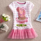 New Baby Toddler Girls Pink Peppa Pig Party Tutu Dress Top Outfit 2T - 6 DZ88