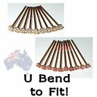 Fishtail Nose pins U bend studs 20g Bezel Set GOLD Plated PINK  CLEAR gems czs*