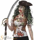 Ladies Zombie Pirate Shirt Undead Womens Halloween Fancy Dress Costume