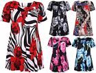 Womens New Plus Size Floral Leaf Print Ladies Short Sleeve Swing Dress Smock Top