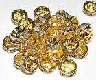 50 Rhinestone Rondelle Spacer Beads Gold 6mm Crystal or AB Diamante (SP030)