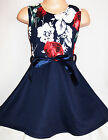 GIRLS FLORAL PRINT DARK NAVY CONTRAST FLARED SPECIAL OCCASION SKATER PARTY DRESS