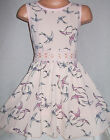 GIRLS 50s STYLE PINK BIRD PRINT LACE TRIM FLARED SKATER PARTY OCCASION DRESS