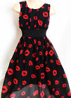 GIRLS BLACK RED LIPS PRINT GRECIAN CHIFFON LONG LENGTH MAXI PARTY DRESS