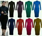Womens Ladies Plus Size Plain Polo Turtle Neck Stretch Midi Bodycon Dress 8-26