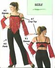 SIZZLE 3pc Set SLEEVES & PANTS & CROP TOP Jazz Tap Dance Costume Child X-Small
