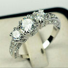 New Size 6-9 White Sapphire Silver Wedding Band Ring White Gold Filled Jewelry