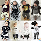 2pcs Summer Newborn Infant Baby Boy Girl Clothes T-shirt Tops+Pants Outfits Set