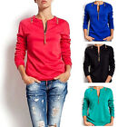 Women Sexy Chest Zipper Solid Shirt Long Sleeve Tops Blouse Casual T-shirt New
