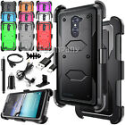 For ZTE Zmax Pro Hybrid Armor Case + Belt Clip Holster Phone Cover w/Accessories