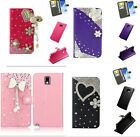 Bling Rhinestone Diamond Leather Cards Case Flip Kickstand Wallet Case Cover