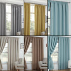 "TEXTURED WOVEN PLAIN THERMAL BLACKOUT LINEN LOOK 3"" TAPE TOP PAIR CURTAINS"