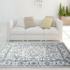 Ivory Blue Traditional Area Rug Bordered Persian Oriental Floor D�cor Carpet