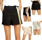 Ladies Soft Suedette Flat Front Side Zip Hot Pants Shorts Womens 10-12 NEW