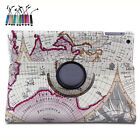 360 Rotating PU Leather Map Case Smart Cover Stand For iPad 2/3/4 Air 2 mini 2 3