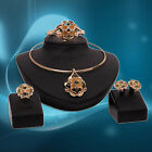 Women's Golden Tone Choker Necklace Earrings Bracelet Ring Jewelry Set Sanwood