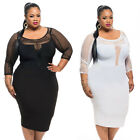 New Sexy Womens Plus Size Dress Fishnet Detail Splice Long Sleeve Bodycon XL~3XL