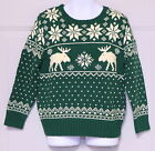 POLO RALPH LAUREN BOYS GREEN PULL OVER HOLIDAY SWEATER SNOWFLAKE MOOSE CHRISTMAS