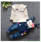 2pcs/set Fashion Kids Baby Girls Long Sleeve T-shirt+Denim Pants Clothes Outfits