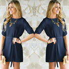 Women Girl Fashion Stylish Casual Loose Half Sleeve Short Shirt Dress Long Tops