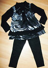 GIRLS BLACK GREY DIAMONTE BOW MARBLE PRINT WINTER KNIT TOP & LEGGING SET