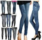 Women Skinny Leggings pocket Printed Thin Denim Leggings Fake Jeans Legging
