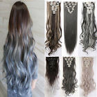 100% Real Thick Long Clip in Hair Extensions Full Head For human Hair 8piece Q79