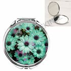 BLUE AND PURPLE FLOWERS HANDBAG POCKET MAKEUP COMPACT MIRROR