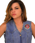 Ladies Denim Vest With Patriotic Proud Wife U.S. Marine Corps Embroidered Patch