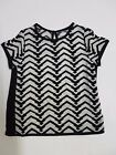 Girls top party NEXT age 3 5 6 7 10 11 12 years black cream monochrome *NEW*