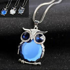 Women Owl Rhinestone Crystal Pendant Necklace Long Sweater Chain Jewelry 3 COLOR
